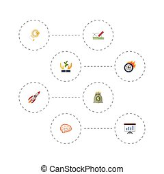 Flat Icons Help, Mind, Limit And Other Vector Elements. Set Of Projects Flat Icons Symbols Also Includes Thinking, Run, Design Objects.