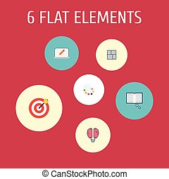 Flat Icons Science, Artist, Bulb And Other Vector Elements. Set Of Creative Flat Icons Symbols Also Includes Pencil, Color, Property Objects.