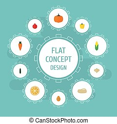 Flat Icons Gourd, Root, Pawpaw And Other Vector Elements. Set Of Fruit Flat Icons Symbols Also Includes Bell, Carrot, Rooty Objects.