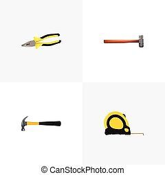 Realistic Pliers, Claw, Handle Hit Vector Elements. Set Of...