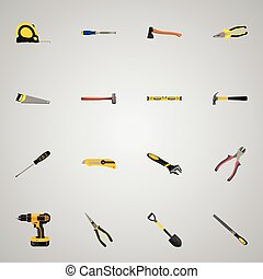 Realistic Plumb Ruler, Forceps, Wrench And Other Vector Elements. Set Of Tools Realistic Symbols Also Includes Screwdriver, Tape, Sledgehammer Objects.