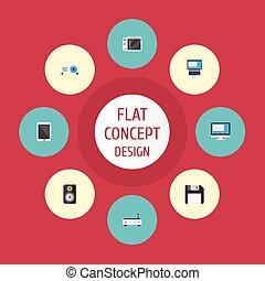 Flat Icons Slot Machine, Presentation, Display And Other Vector Elements. Set Of Laptop Flat Icons Symbols Also Includes Laptop, Phone, Floppy Objects.