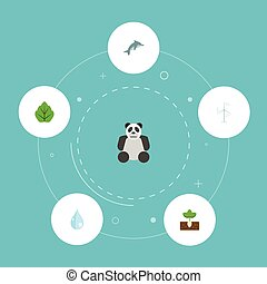 Flat Icons Sprout, Water, Bear And Other Vector Elements. Set Of Green Flat Icons Symbols Also Includes Playful, Drop, Plant Objects.