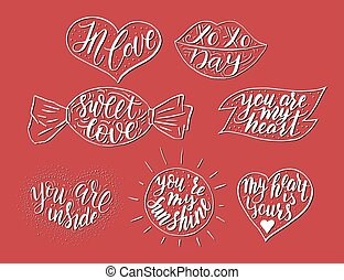 Hand drawn romantic vector quote set in different shapes....