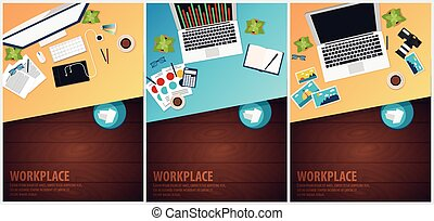 Set banners of Freelance Workplace office, co-working...
