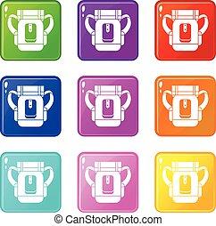 Sleeping bag set 9 - Sleeping bag icons of 9 color set...