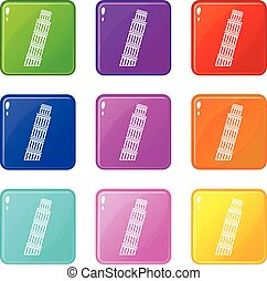 Tower of pisa set 9 - Tower of Pisa icons of 9 color set...