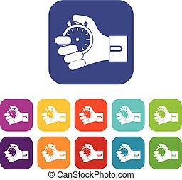 Hand holding stopwatch icons set vector illustration in flat...