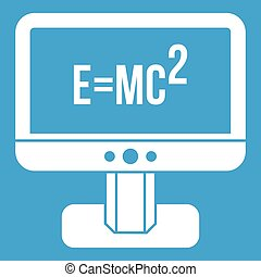 Monitor with Einstein formula icon white isolated on blue...
