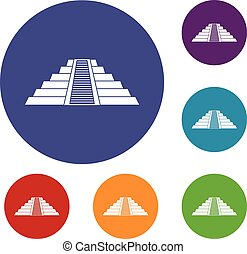 Ziggurat in Chichen Itza icons set - Ziggurat in Chichen...