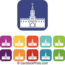 Russian kremlin icons set vector illustration in flat style...