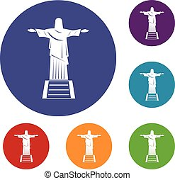 The Christ the Redeemer statue icons set in flat circle red,...