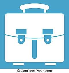 Diplomat bag icon white isolated on blue background vector...