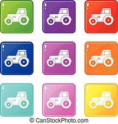 Tractor set 9 - Tractor icons of 9 color set isolated vector...