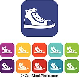 Athletic shoe icons set vector illustration in flat style in...