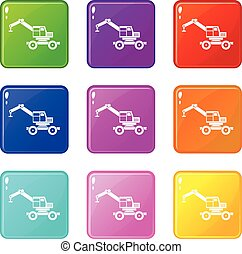 Crane truck set 9 - Crane truck icons of 9 color set...