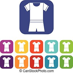 Sport shirt and shorts icons set vector illustration in flat...
