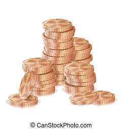 Bronze, Copper Coins Stacks Vector. Silver Finance Icons, Sign, Success Banking Cash Symbol. Investment Concept. Realistic Currency Isolated Illustration