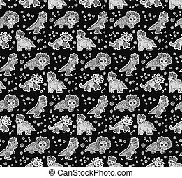 Dinosaurs objects gray scale seamless pattern. Color vector...