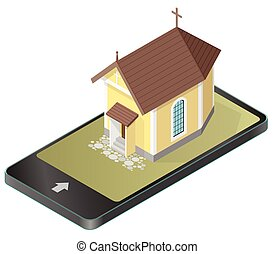 Vector Christian small church in mobile phone, in isometric...