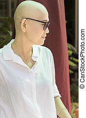 bald head woman after cancer chemical medicine treatment...