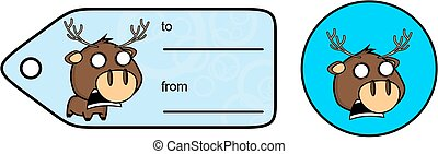 scream little chubby deer cartoon exprression giftcard...
