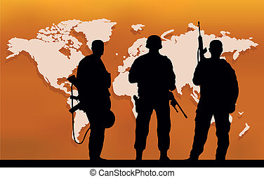 Three soldiers and a map of the world