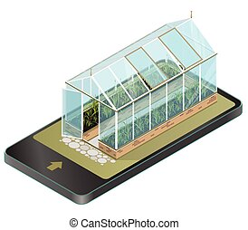 Vector isometric greenhouse with glass walls in mobile...