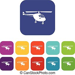 Helicopter icons set vector illustration in flat style in...