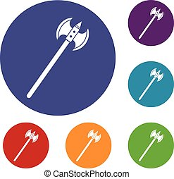 Poleaxe icons set in flat circle red, blue and green color...