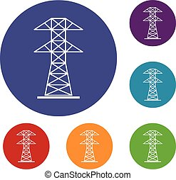 High voltage tower icons set in flat circle red, blue and...