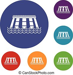 Hydroelectric power station icons set in flat circle red,...