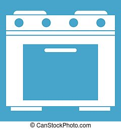 Gas stove icon white isolated on blue background vector...
