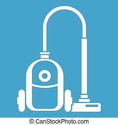 Vacuum cleaner icon white isolated on blue background vector...