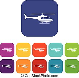 Military helicopter icons set vector illustration in flat...