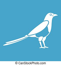 Bird magpie icon white isolated on blue background vector...