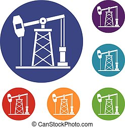 Oil derrick icons set in flat circle red, blue and green...