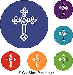 Cross with diamonds icons set