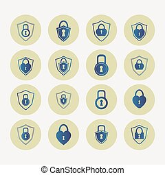 Blue lock, set - Set of blue locks in round ocherous frame