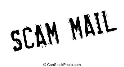 Scam Mail rubber stamp. Grunge design with dust scratches....