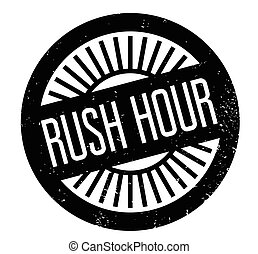 Rush Hour rubber stamp. Grunge design with dust scratches....