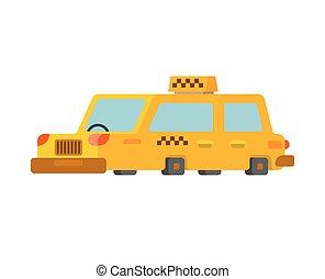 タクシー, 交通機関, 人々, 隔離された, 自動車, 黄色