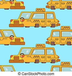 Taxi pattern. Yellow Car Transportation of people background