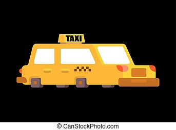 Taxi isolated. Yellow Car Transportation of people