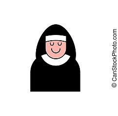 Nun icon contour style. Catholic Religious woman linear...