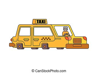 Taxi isolated style outline. Yellow Car Transportation of people