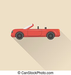 Flat style cabriolet car icon with long shadow