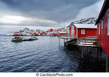 Typical red rorbu fishing huts on Lofoten islands in Norway....