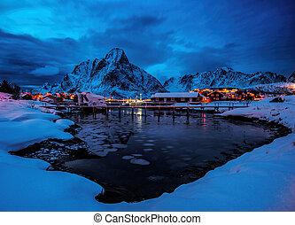 Reine Village on the Lofoten Islands, Norway - Naight in...