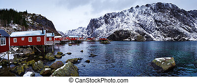 Typical red rorbu fishing huts on Lofoten islands in Norway...